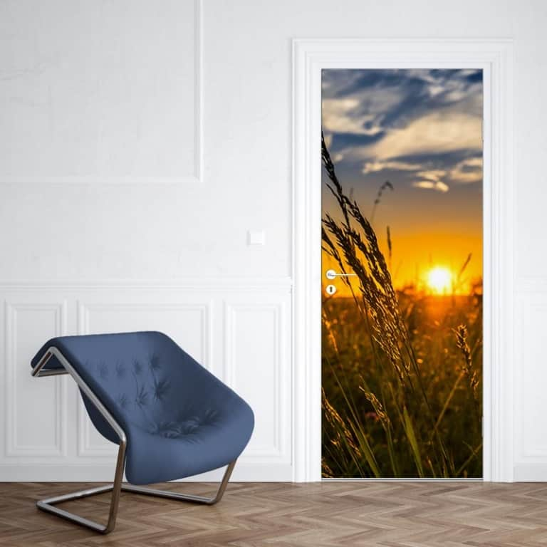 Deursticker zonsondergang korenveld 1