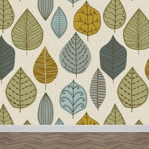 Fotobehang blauw groene bladeren