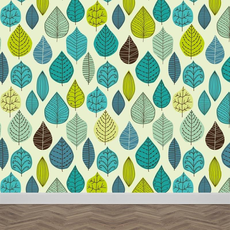 Fotobehang groen-blauwe bladeren