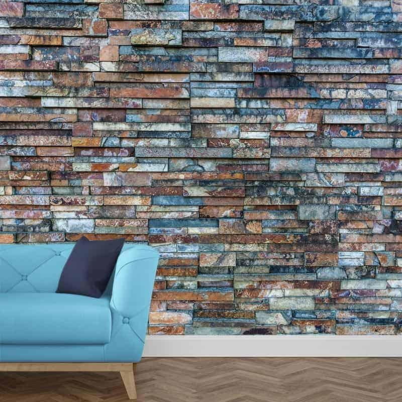 Good fotobehang stenen muur patroon overzicht structuren for Renovlies zelf aanbrengen