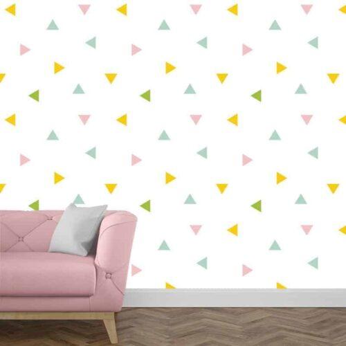 fotobehang driehoekjes pastel patroon