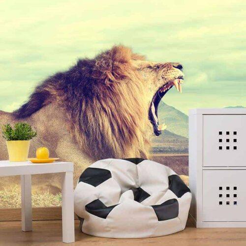 Fotobehang gapende leeuw