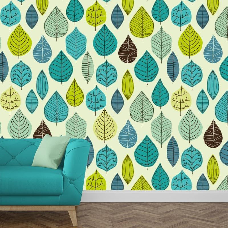 Fotobehang groen-blauwe bladeren 1