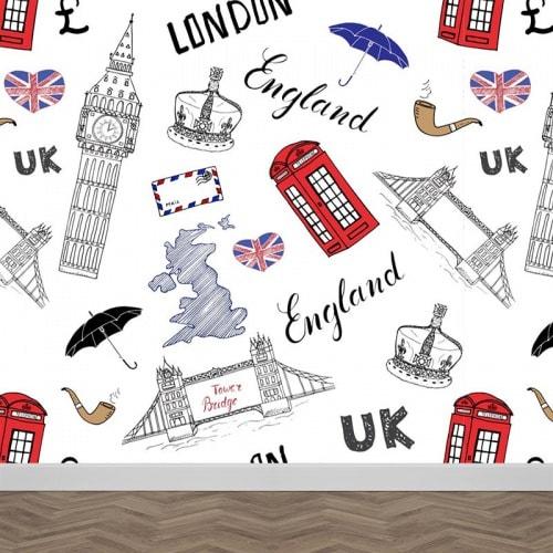 Fotobehang Engeland illustratie