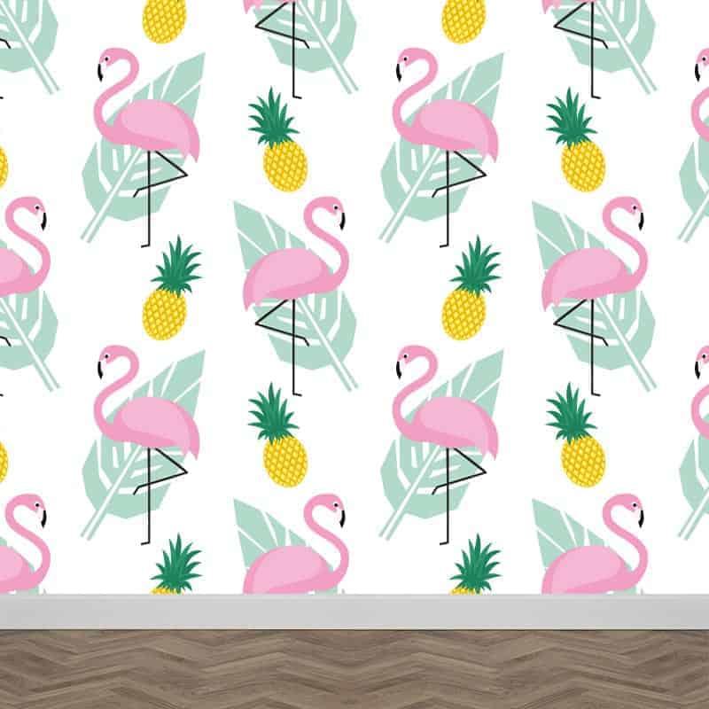 Fotobehang flamingo patroon