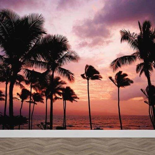Fotobehang Palmbomen ondergaande zon 1