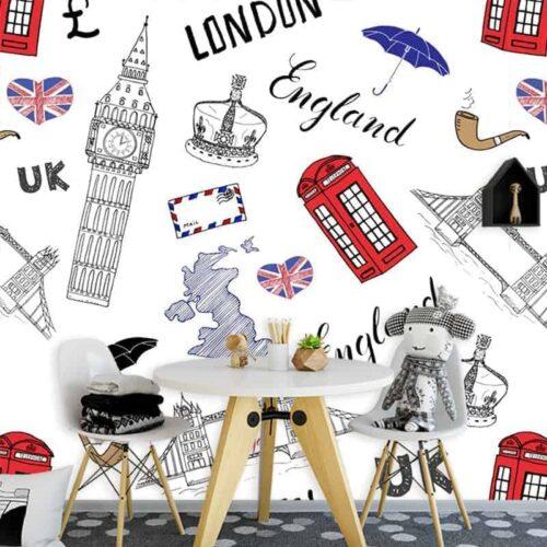 Fotobehang Engeland illustratie 1