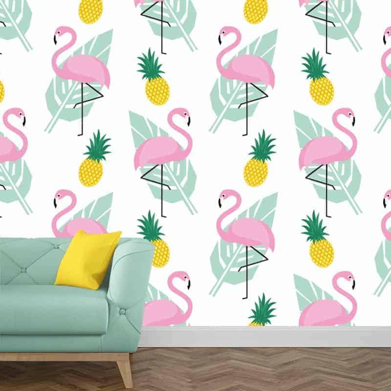 Fotobehang flamingo patroon 1