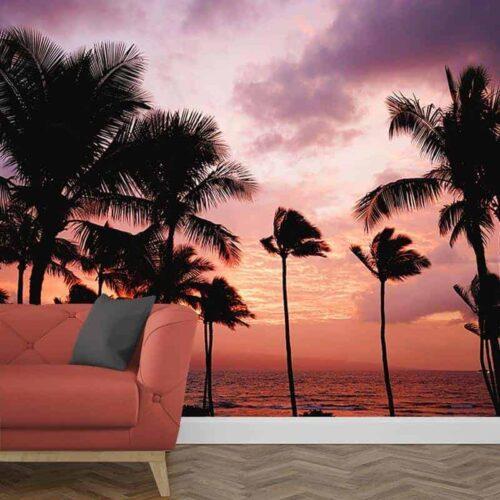 Fotobehang Palmbomen ondergaande zon