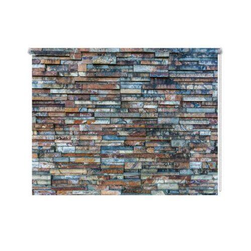 rolgordijn stenen muur patroon