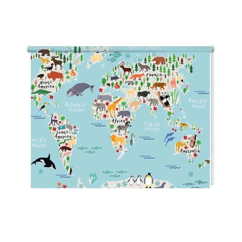 rolgordijn Dieren wereldkaart