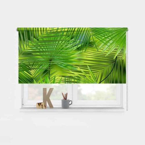 Rolgordijn grote palmbladeren 1