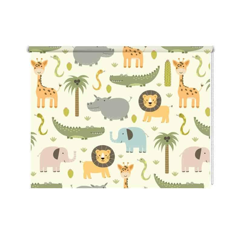 Rolgordijn wilde dieren illustratie