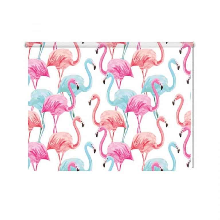Rolgordijn tropische flamingo patroon