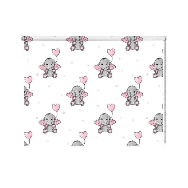 Rolgordijn olifantjes patroon