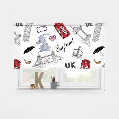 Rolgordijn Engeland illustratie 1