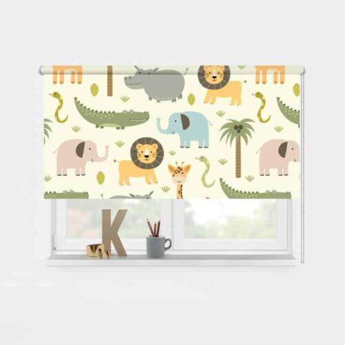 Rolgordijn wilde dieren illustratie 1