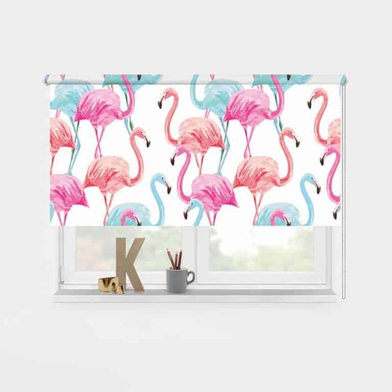 Rolgordijn tropische flamingo patroon 1