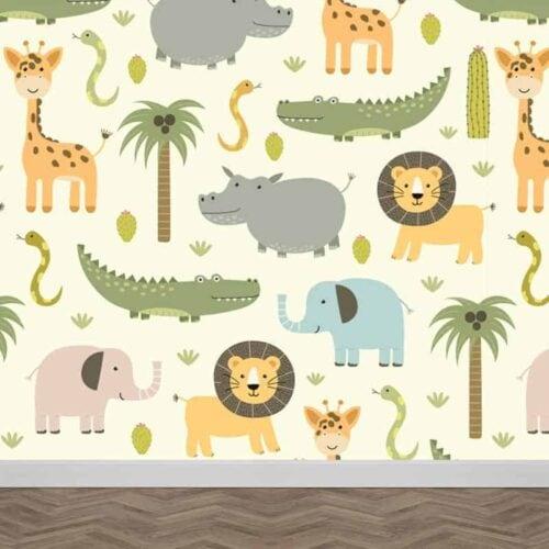 Fotobehang wilde dieren illustratie