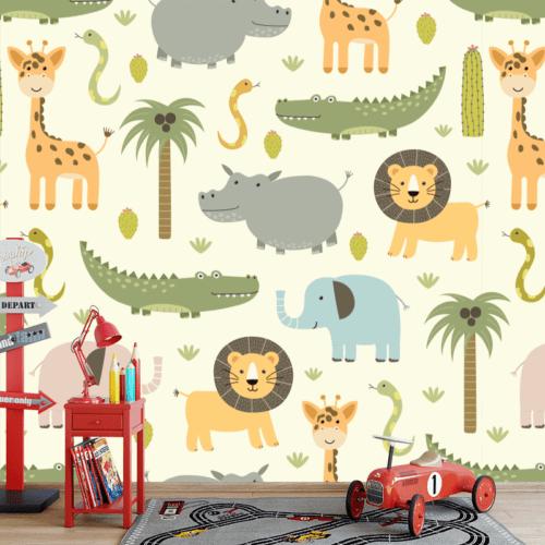 Fotobehang wilde dieren illustratie 1