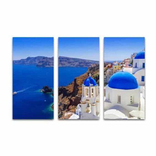 Drieluik canvas Santorini zeezicht