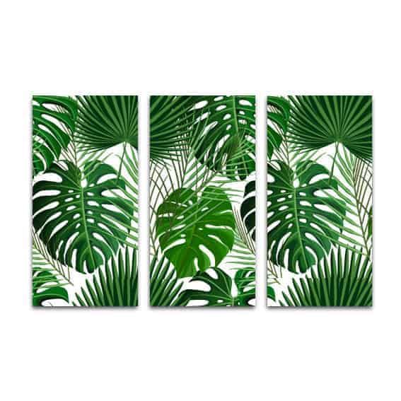 Drieluik canvas Palmbladeren patroon 2