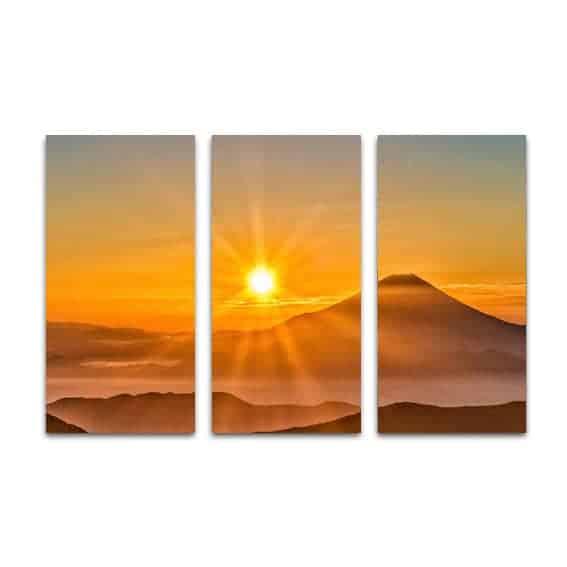 Drieluik canvas spectaculaire zonsondergang