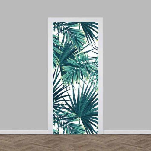 Deursticker tropische bladeren patroon 2