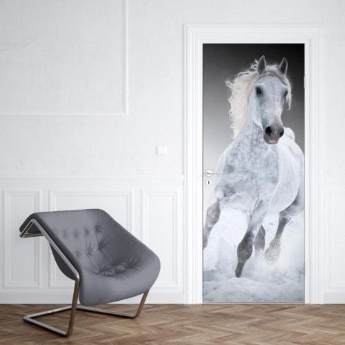 Deursticker rennend paard wit