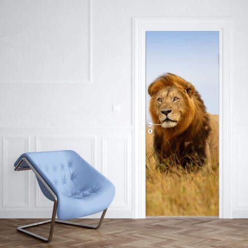 Deursticker Leeuw in Afrika 1