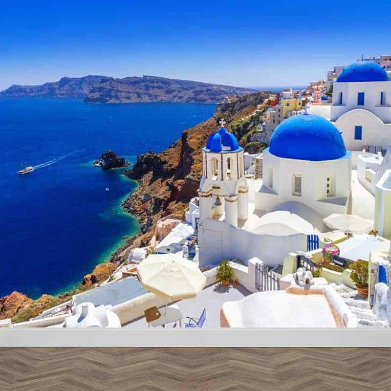 Fotobehang Santorini zeezicht