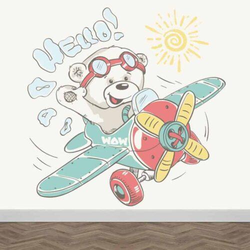 fotobehang beertje hello in vliegtuig