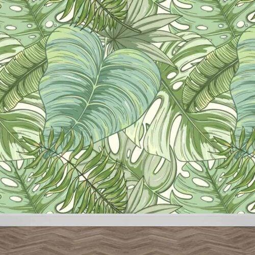 Fotobehang tropische bladeren patroon 3