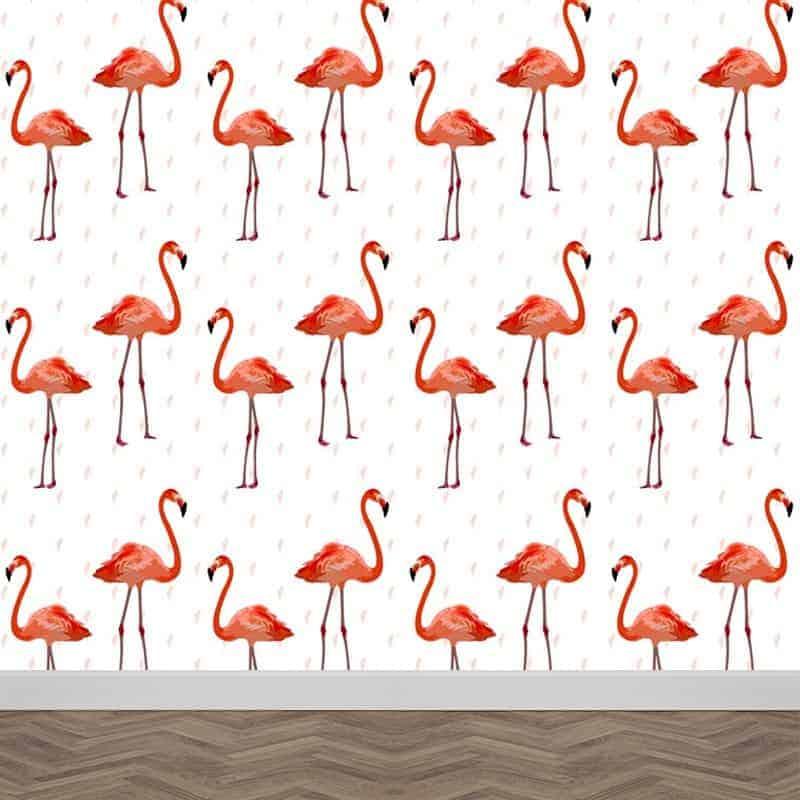Fotobehang flamingo patroon 3