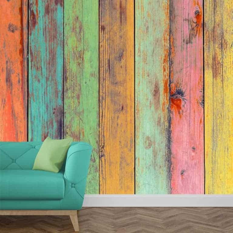 Fotobehang gekleurd steigerhout