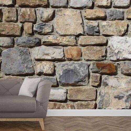 Fotobehang Stenen muur patroon 2