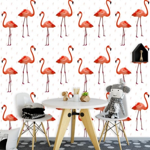 Fotobehang flamingo patroon 3