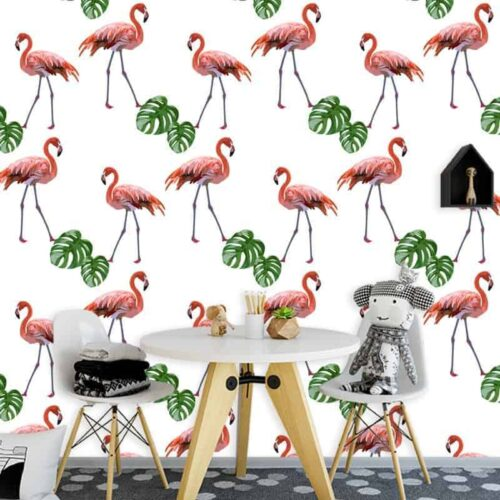 Fotobehang flamingo patroon 2