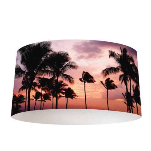 Lampenkap Palmbomen ondergaande zon