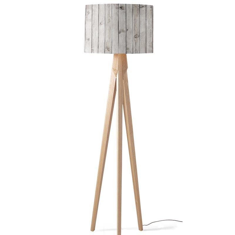 Lampenkap Steigerhout lichtgrijs