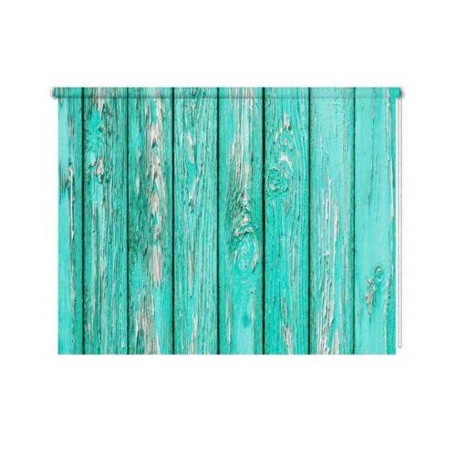 Rolgordijn Azuurblauw oud hout 1