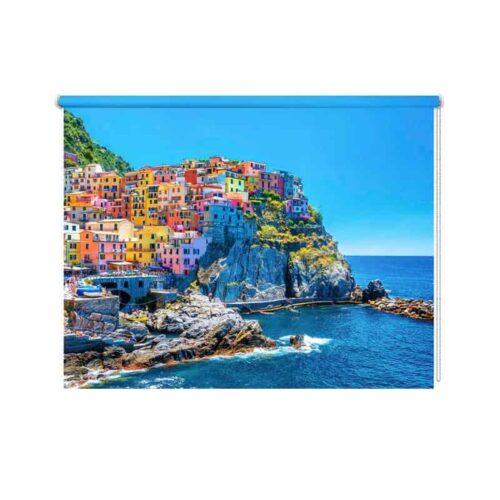 Rolgordijn Italiaans dorp aan zee