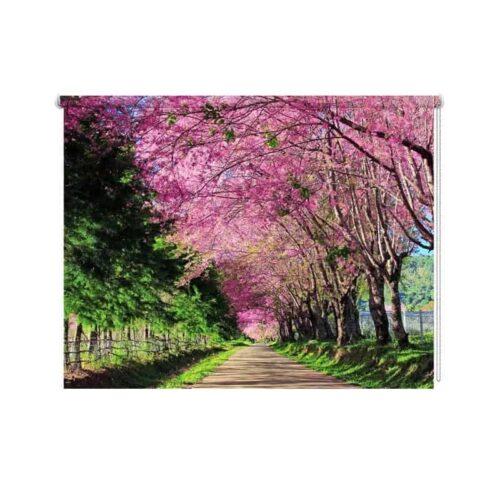 Rolgordijn Bomenlaan in bloei