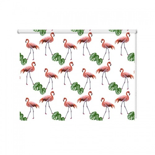Rolgordijn flamingo patroon 2