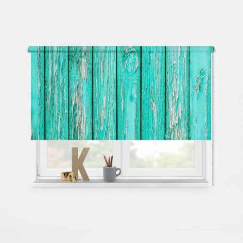 Rolgordijn Azuurblauw oud hout