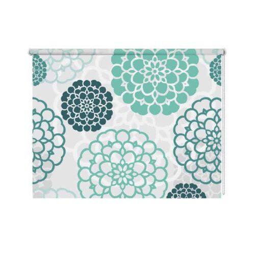 Rolgordijn blauwe bloemen patroon 2