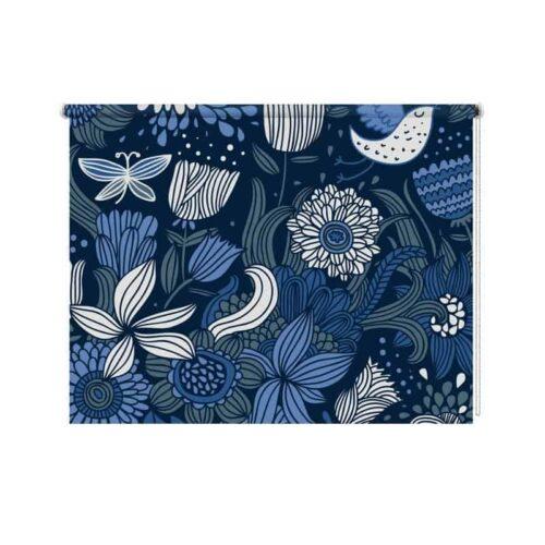 Rolgordijn blauwe bloemen patroon