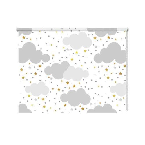 Rolgordijn wolkjes en gele sterretjes