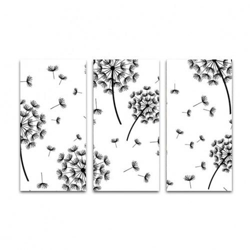 drieluik-canvas-dandelion-patroon2-zwartwit