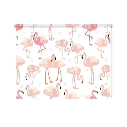 Rolgordijn Flamingo patroon